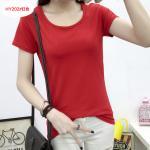 เสื้อยืดสีสันสวยๆ ใส่ได้ทุกยุค ทุกสมัยแฟชั่น คอกลม - แดง