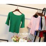 เสื้อยืดคอกลมแฟชั่นแขน 3 ส่วน คอกว้าง ผ้านิ่ม กับสีให้เลือกกันอย่างจุใจ - เขียว