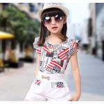 เสื้อผ้าเข้าชุดสำหรับเด็ก ตกแต่งด้วยลายธงชาติเก๋ๆ น่ารัก สดใส สไตล์แฟชั่น - ขาว