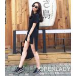 เสื้อแฟชั่นสตรี ทรงยาว จะใส่แบบเดรสสั้น- ดำ