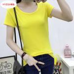 เสื้อยืดสีสันสวยๆ ใส่ได้ทุกยุค ทุกสมัยแฟชั่น คอกลม - เหลือง