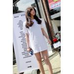 เสื้อแฟชั่นสตรี ทรงยาว จะใส่แบบเดรสสั้น- ขาว