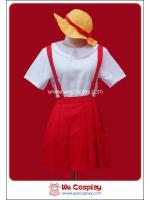 ชุดนักเรียนอนุบาลจิบิมารุโกะจัง สีขาวแดงหมวกเหลือง (Chibi Maruko chan Cosplay Costume)