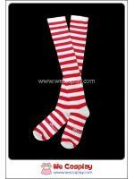 ถุงเท้าโกธิคโลลิต้าพังค์ ยาวเหนือเข่า ลายขวาง สีขาวแดง