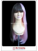 วิกผมโลลิต้า ผมยาวตรง มีหน้าม้า สีทูโทนชมพู น้ำตาล Pink & Brown Lolita Wig