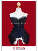 คอร์เซ็ทโกธิคพังค์ สีม่วงดำ มีลูกไม้ระบาย Black & Violet Gothic Punk Lace Corset