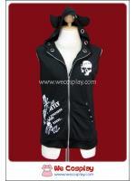 เสื้อแจ็คเก็ตพังค์ สีดำ ซิปดำ สกรีนกะโหลกสีขาว Black Punk Jacket with Black Zip มีฮู้ดเขาเดวิ่ล
