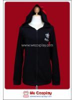 เสื้อแจ๊คเก็ตพังค์ Punk Jacket แขนยาว สีดำ มีฮู้ดหูหมีติดโบว์แดง