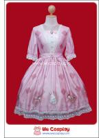 เดรสโลลิต้าพิงค์โมริเกิร์ลสีชมพูลายสัตว์น้อยน่ารัก (Pink Mori Girl Lolita Dress)