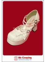รองเท้า คิวท์โลลิต้า สีขาวอ๊อฟไวท์ Off White Cute Lolita Shoes