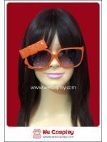 แว่นตาสีส้ม ติดโบว์ เลนส์ดำ Fancy Cosplay Glasses