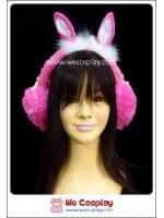ที่ครอบหูกันหนาว หูกระต่าย สีชมพูเข้ม ประดับด้วยโบว์ Dark Pink Rabbit Earmuff