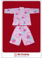 ชุดจินเบอิสำหรับผู้ใหญ่ หรือชุดลำลองญี่ปุ่น พื้นสีชมพูลายกุหลาบชมพูฟ้า