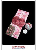 ยูกาตะผู้หญิง พื้นชมพูลายดอกไม้และสร้อยมุก โอบิสีแดง ถุงใส่ของ รองเท้าเกตะ