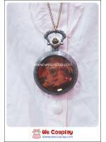 สร้อยคอโกธิคโลลิต้า จี้ล็อกเก็ตนาฬิกาสีทองรมดำ ฝากระจกสีชาหน้าปัดลายภาพวาด