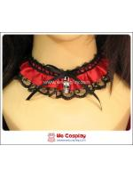เซ็ตโชคเกอร์ สร้อยข้อมือโกธิคโลลิต้าพังค์ สีดำแดง Gothic Lolita Punk Choker and Cuffs Set