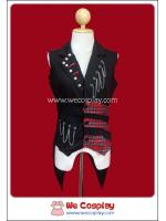 เสื้อกั๊กพังค์ Punk Vest ประดับโซ่ หมุด ผ้าลายสก๊อตสีแดง