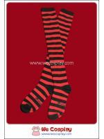 ถุงเท้าโกธิคโลลิต้าพังค์ ยาวเหนือเข่า ลายขวาง สีดำแดง