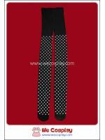 กางเกงเลคกิ้งแบบโปร่ง สีดำ ลายจุดสีขาว ยาวเต็มตัว