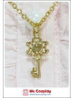 สร้อยคอโลลิต้า จี้กุญแจหัวใจ สไตล์วินเทจ สีทอง Lolita Necklace
