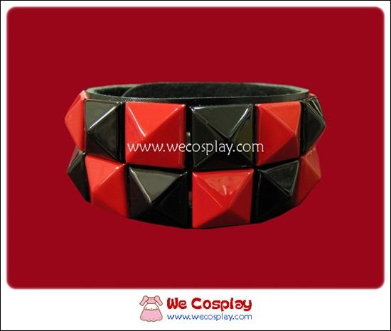 สร้อยข้อมือพังค์ Punk Wristband ตอกหมุด 2 แถว สีดำแดง ตาหมากรุก