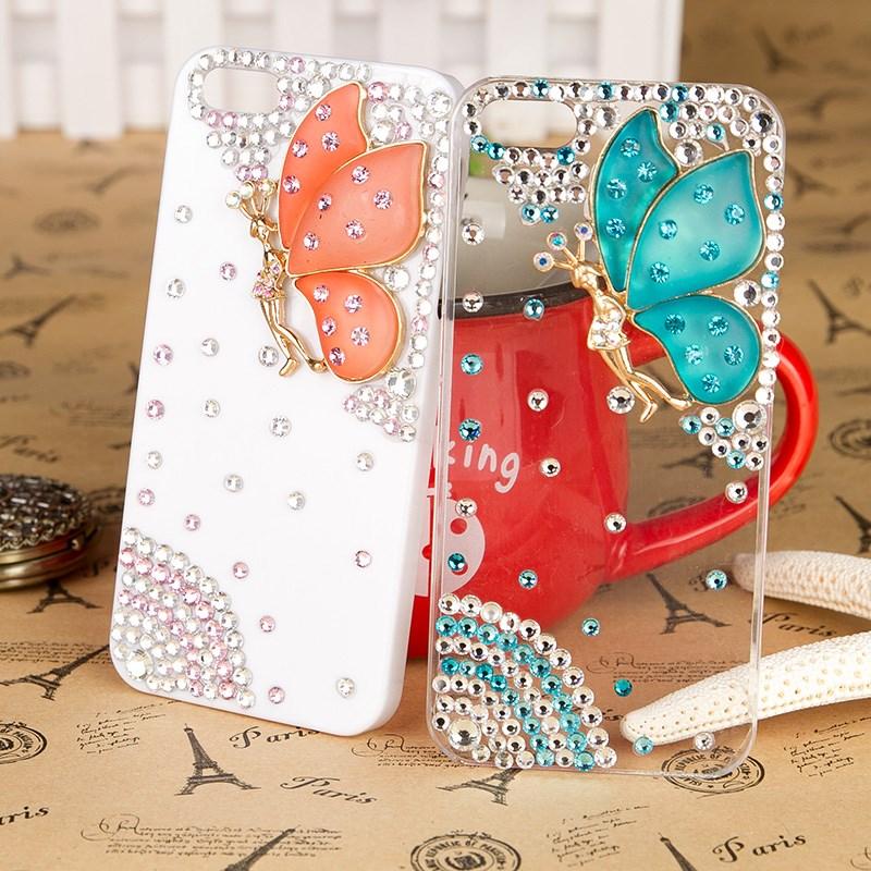 เคสไอโฟน 6 Plus / 6s Plus (Hard Case ) กรอบขาว ประดับเพชรและผีเสื้อสีส้ม