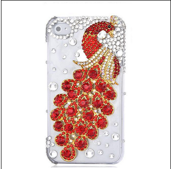 เคสไอโฟน 6 Plus / 6s Plus (Hard Case ) กรอบใส ประดับเพชรและนกยูงสีแดง