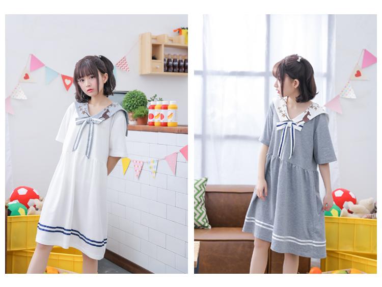 เดรสแฟชั่นชุดกลาสี สไตล์สาวญี่ปุ่น แต่งปกเสื้อ น่ารักสมวัยใสๆ