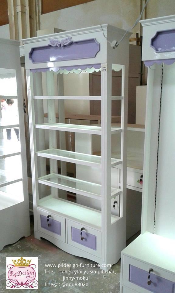 ตู้โชวโล่งทะลุ 4 ด้านวินเทจ สีขาว สำหรับบ้านเเละร้านค้า