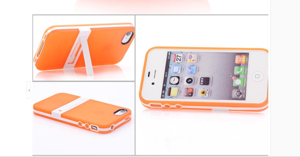 เคสไอโฟน 5/5s/SE (TPU Case) พร้อมขาตั้ง สีส้ม