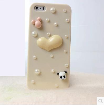 เคสไอโฟน 4/4s กรอบสีเบจประดับมุก หัวใจกระต่ายหมีแพนด้า