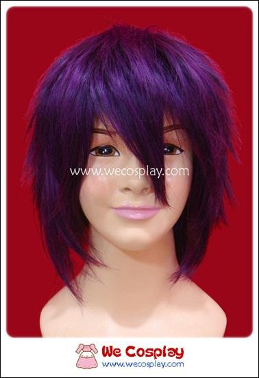 วิกผมสั้น ทรงผู้ชาย ซอยสไลซ์ สีม่วงเข้ม Dark Purple Cosplay Wig