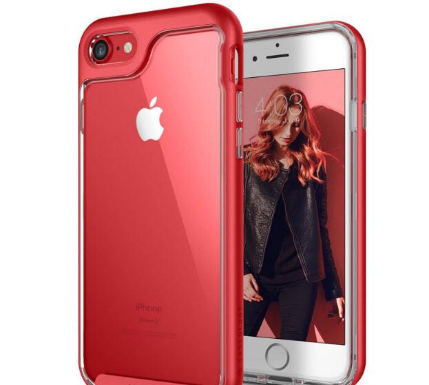 เคสไอโฟน 6Plus/6sPlus (TPU + PC ) ขอบสีแดง หลังใส