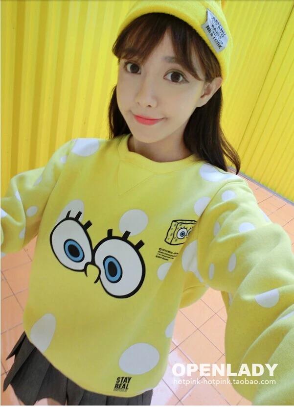 เสื้อกันหนาวสีสันสะดุดตา ลาย Spongebob สุดฮิต อุ่น นุ่ม สบาย ด้วยผ้ากำมะหยี่