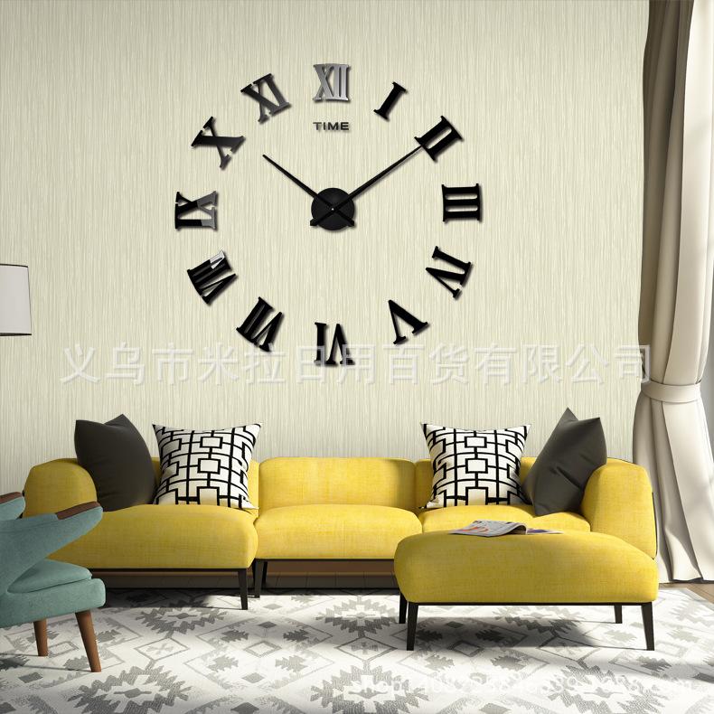 นาฬิกาDIY ขนาดจัมโบ้90cm เรือนกับเข็มสีเงิน ตัวเลขสีดำ big9A