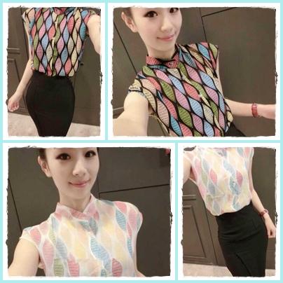 เสื้อแฟชั่นแขนกุด สีสันสวยงาม ลายข้าวหลามตัด สีสันสไตล์ colorful
