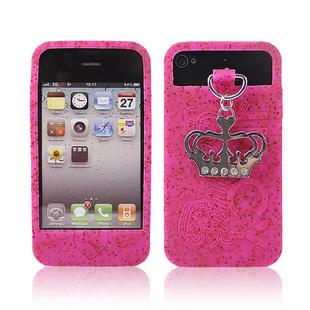 เคสไอโฟน 4/4s (Case Iphone 4/4s) เคสซิลิโคน Crystal Crown สีชมพู