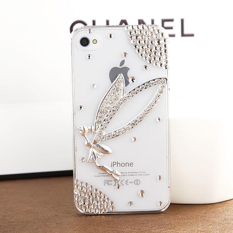เคสไอโฟน 4/4s (Case Iphone 4/4s) เคสไอโฟนกรอบโปร่งใสประดับเพชรรูปนางฟ้า