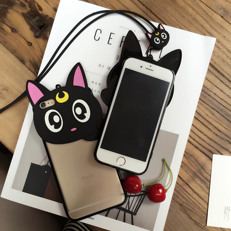 เคสไอโฟน 7(เคสพลาสติกขอบยาง) แมวเหมียวพร้อมสายห้อยคอ