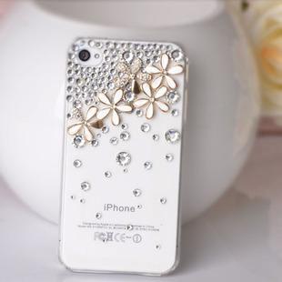 เคสไอโฟน 4/4s (Case Iphone 4/4s) เคสไอโฟนกรอบโปร่งใสประดับเพชร และห้าดอกเดซี่