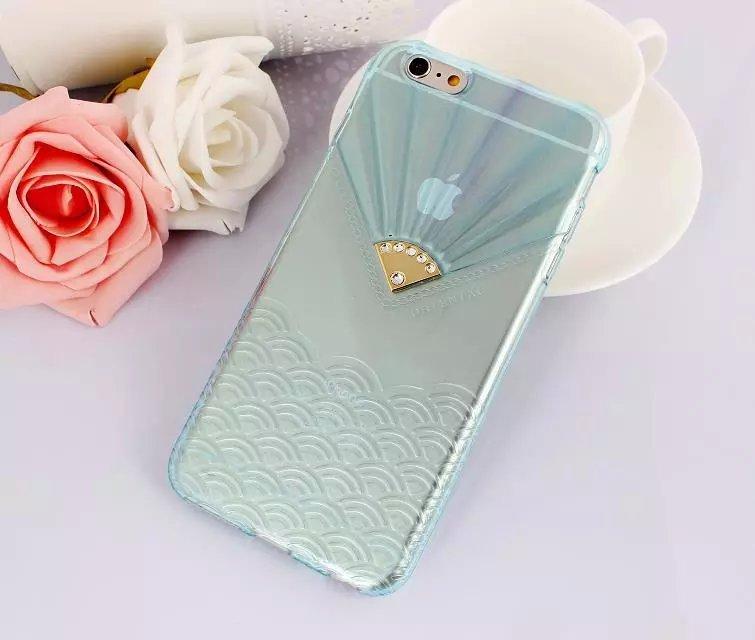 เคสไอโฟน 6 Plus / 6s Plus (TPU case หักบิดงอได้) สีฟ้าใส ประดับเพชรเรียบหรู