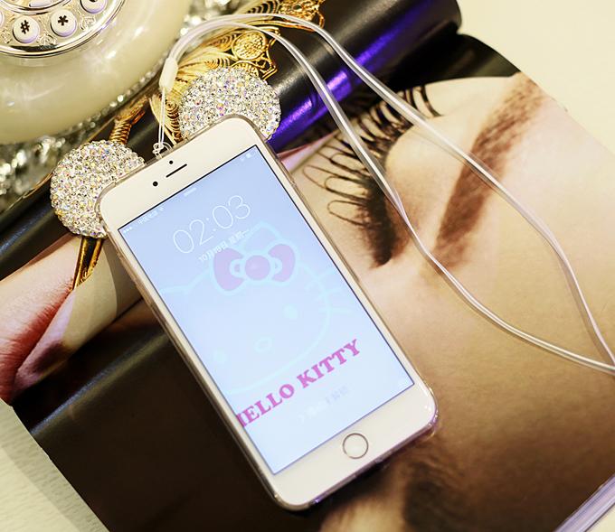 เคสไอโฟน 7 (TPU Case เคสนิ่ม) เคสใส ประดับหูมิกกี้เพชรพร้อมสายห้อยคอ
