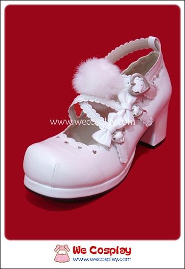 รองเท้าโกธิคโลลิต้า ไวท์ลาแซน บงบงพัมส์ สีขาวอ๊อฟไวท์