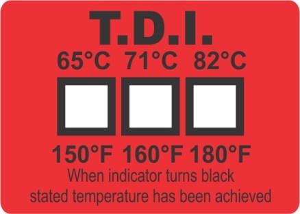 แผ่นวัดอุณหภูมิในเครื่องล้างจาน Dishwasher Label