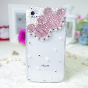 เคสไอโฟน4/4s (Case Iphone 4/4s) กรอบโปร่งใสประดับเพชรมุก รูปหัวมิกกี้เม้าส์สีชมพูอ่อน