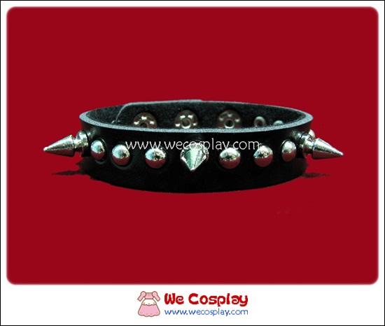 สร้อยข้อมือพังค์ Punk Wristband ตอกหมุดเงินกลมสลับหมุดหนาม 1 แถว