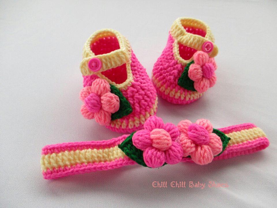เซ็ทรองเท้าและผ้าคาดผมติดดอกไม้ 3-6 เดือน *ส่งฟรี EMS