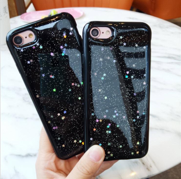 เคสไอโฟน 6Plus/6sPlus (TPU CASE) เคสยางนิ่มสีดำ คลุมรอบเครื่อง ประดับกากเพชรรูปดาว