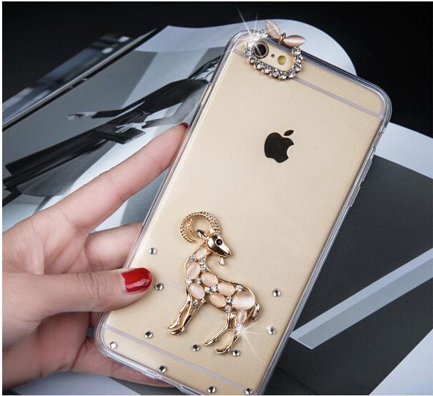 เคสไอโฟน 6 Plus / 6s Plus กรอบใส ประดับแพะคริสตัล