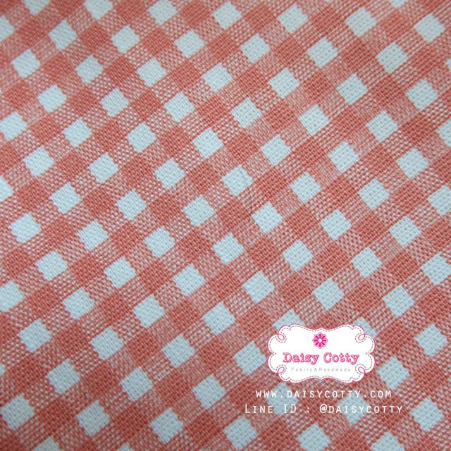 ผ้าคอตตอนลินิน 1/4ม.(50x55ซม.) ลายตารางสีส้ม